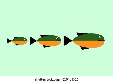 sea fish emblem icon vector illustration design. fish small medium large