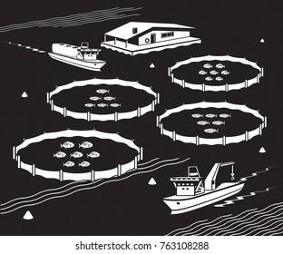 Sea fish farm - vector illustration