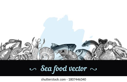 Sea fish hand drawn illustration border frame down ink and watercolor spot marine menu card restaurant, vector banner