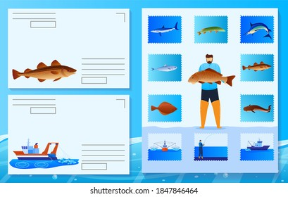 Sea fish postage stamp vector illustration. Cartoon flat scrapbook collage collection of sea post labels, mail postmarks with fisherman character holding fish, commercial fishing ship boat, seafood
