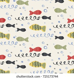 sea fish seamless pattern. hand drawn vector illustration,can be used for kid's or baby's shirt design, fashion print design, fashion graphic, t-shirt, kids wear