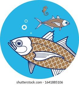 Sea fish vector image. Unique Mackerel fish, Great for logo, label, pack. Three color separation.