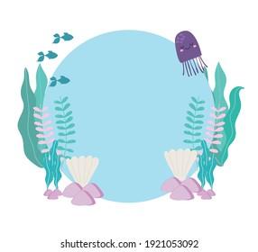 sea fishes jellyfish seashells algaes stones vector illustration cartoon