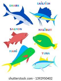 Sea fishes (tuna; shark; sailfish; mahi; halibut; salmon). Set of cute color vector images with text names.
