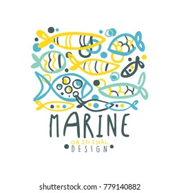 Sea or fishing club logo original design with lettering and abstract different fish in water. Flat creative hand drawn colorful vector illustration on white.