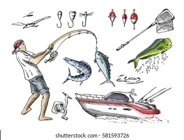 Sea fishing. Set