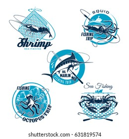 Sea fishing symbol set. Crab, shrimp, blue marlin, octopus and squid with fishing rod, boat and net trap. Fishing trip badge, sporting club emblem, seafood and fish market sign design