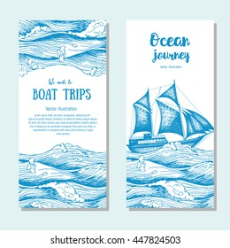 Sea flyer set. Vector vertical banner collection. Illustration drawn in ink.