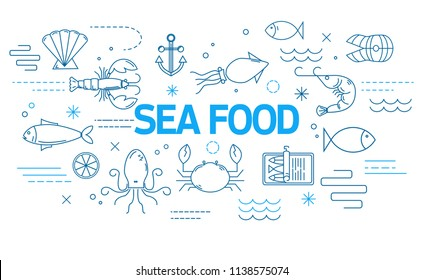 Sea food banner in modern style with thin line icons. Restaurant menu template