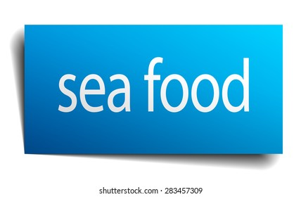 sea food blue paper sign on white background