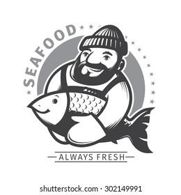 Sea food emblem, fisherman show his fish