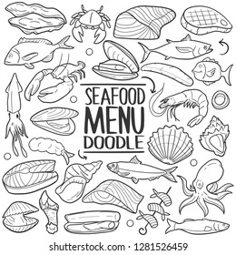 Sea Food Restaurant Menu Traditional Doodle Icons Sketch Hand Made Design Vector