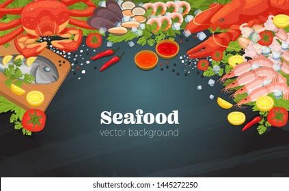 Sea food top view background. Fish restaurant seafood dishes food cooked a beautiful gourmet dinner background. Restaurant menu vector isolated