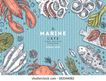 Sea food top view illustration. Fish restaurant table background. Engraved style illustration. Hero image. Vector illustration