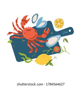 Sea food top view on cutting board. Fish restaurant seafood dishes food cooked from crab meat,oysters, octopus tentacles and lemon. Marine cafe seafood menu vector isolated illustration