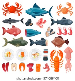 Sea food vector illustration.