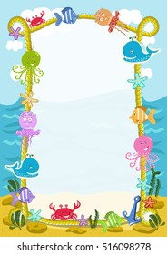 Sea frame with cartoon sea animals. Children's diploma. Sea life.
