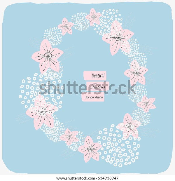 Sea frame with hand drawn corals and starfishes. Vector illustration in pastel blue and salmon colors for cards, posters, banners, wedding invitations, bridal showers, postcards, wrapping, etc.