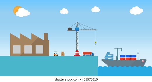 sea freight shipping transportation service icon design for logistics industry