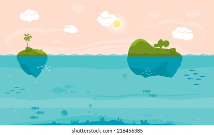Sea game background with islands and underwater life