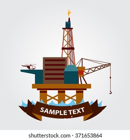Sea gas platform icon. Drilling rig at sea. Oil platform, gas fuel, industry offshore, drill technology.