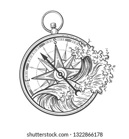 Sea graphic vector illustration with ocean waves and compass, wind rose image. Travel, outdoor, adventure, explore symbol. Direction and navigation antique tool. Engraving style for tattoo, print