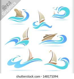 Sea Graphics Series -   Ship Sailing Icon Set
