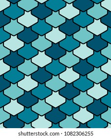 Sea green scales seamless pattern
