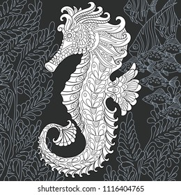 Sea horse drawn in line art style. Ocean background in black and white colors on chalkboard. Coloring book. Coloring page. Zentangle vector illustration.