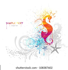 the sea horse, is drawn with red and yellow paint on a white background.