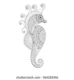 Sea Horse. Hand drawn Sea Horse, adult coloring pages, doodle, zentangle Sea Horse,  Mehndi ethnic ornamental tattoo, artistic henna patterned prints. Sea animal vector illustration for coloring book