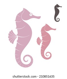 Sea horse. Isolated fish on white background. Vector illustration EPS10