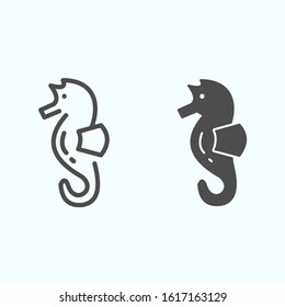 Sea Horse line and solid icon. Sea animal hippocampus illustration isolated on white. Hippocampus outline style design, designed for web and app. Eps 10