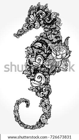Sea Horse Tattoo Tshirt Design Symbol Stock Vector Royalty Free