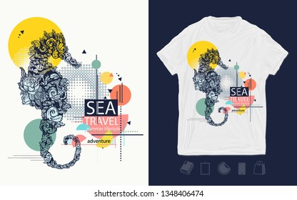 Sea horse, zine culture style. Print for t-shirts and another, trendy apparel design. Symbol of freedom, adventure. Sea travel slogan