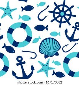 sea icons seamless pattern on white