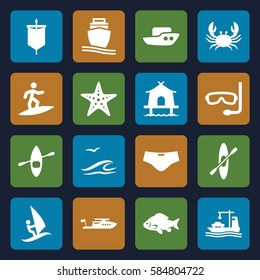 sea icons set. Set of 16 sea filled icons such as fish, crab, boat, cargo ship, rowing, starfish, tent, man swim wear, aqualung, sea and gull, rowing boat, surfing