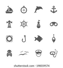 Sea icons, vector.
