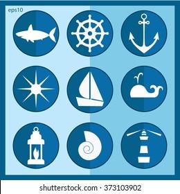 Sea icons vector set.