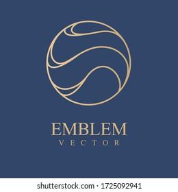 Sea icon.Wave logo. Nature logo.  Cosmetics, Spa, Beauty salon, Decoration, Boutique logo. Interior Icon. Resort and Restaurant Logo. Herbal, leaf, nature icon.