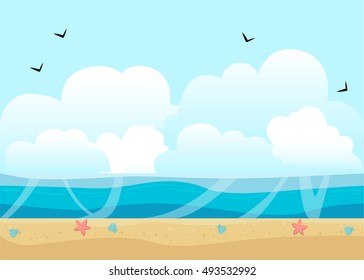 Sea Illustration background with ocean and beach Abstract Design Creativity Background.