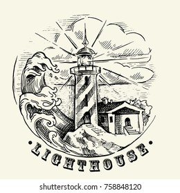 Sea illustration made in retro style. Old gravure style. Ink and pen hand drawn artwork. Ship, lighthouse, marine illustration.
