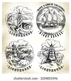 Sea illustration retro style. Old gravure style. Ink and pen artwork.