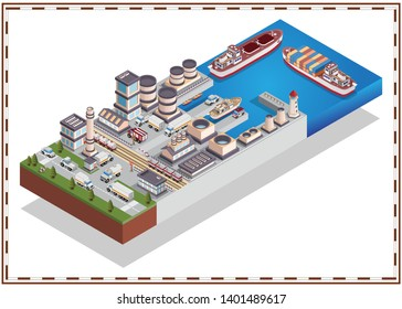 Sea industrial port. Isometric. Isolated on white background. Vector illustration.