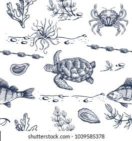 Sea inhabitants sketch. Seamless pattern. Sea turtle, fish, crabs, seaweed.