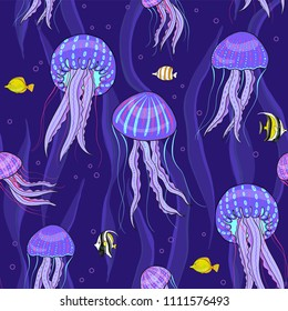 Sea jellyfish on dark purple background. Seamless pattern.