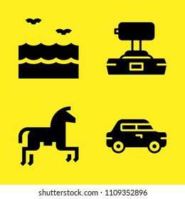 sea, joystick, horseriding and car vector icon set. Sample icons set for web and graphic design