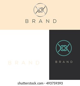 Sea knots logo vector. Marine brand identity. Ship design element.  Vintage old style logo template. Retro style, label decor logo, premium quality logo. Marine rope sign.