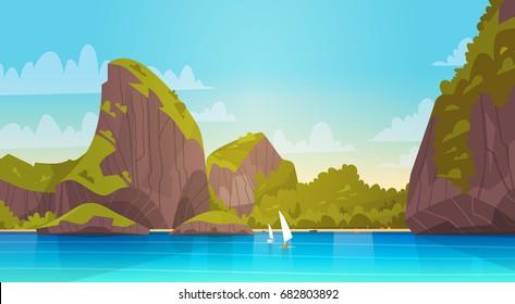 Sea Landscape Beautiful Asian Beach With Mountain Coast Seaside View Summer Seascape Flat Vector Illustration