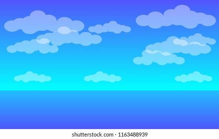 Sea landscape. Blue sea, blue sky and clouds. Vector EPS10